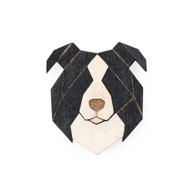 Dřevěná brož Border Collie Brooch Bewooden