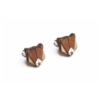 Dřevěné náušnice Bear Earrings Bewooden