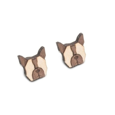 Dřevěné náušnice French Bulldog Earrings Bewooden