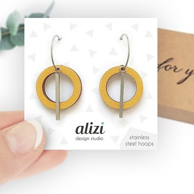 Žluté náušnice Hoops Small Rings Alizi Design